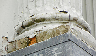 water damaged pillar